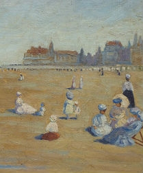 'Elegantes'on the Beach - Impressionist Oil