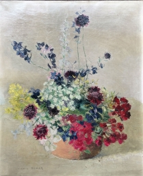'Flowers in a Pot' - Antique Oil Painting