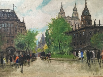 'Grand Place' of Budapest - Antique Oil Painting