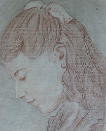 19th Century Drawing of a Young Girl