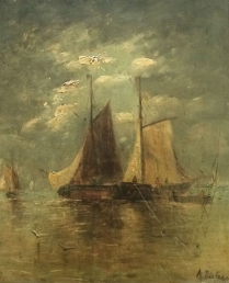 19th Century Marine - Antique Oil Painting