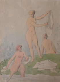 !9th Century Watercolour - Three Graces