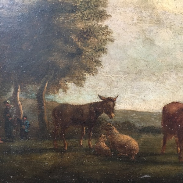 Animals in a  Landscape - Antique Oil Painting