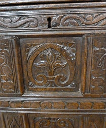 Antique  Carved Oak Chest