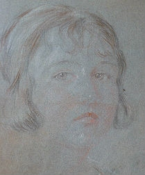 Antique drawing of a Girl - French School