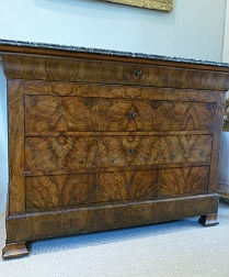 Antique French Burr Walnut Commode - Louis Philippe
