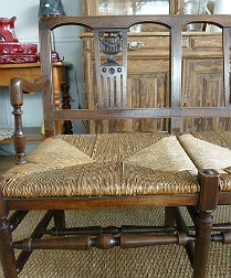 Antique French Three-Seater Bench