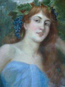Antique Portrait - Girl With Grapes in Her Hair