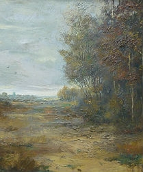 Autumn Heathland - Antique Oil Painting