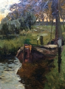 Barge on a Canal - Antique Oil Painting