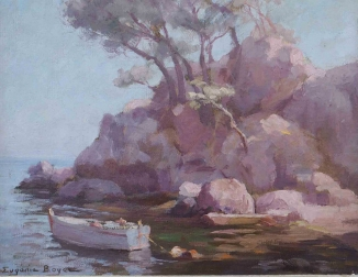 Boat in a Creek - Antique Oil Painting