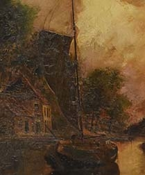 Boat on a Canal - Antique Oil Painting