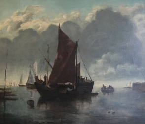 Boats in a Harbour -Antique Oil Painting