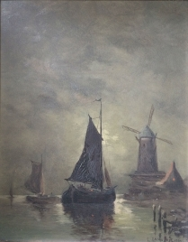 Boats in Moonlight - Antique Oil Painting