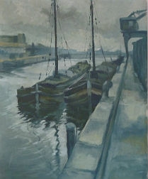 Boats on a Canal - Belgium School