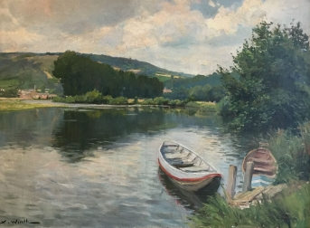 Boats on a River - Antique Oil Painting