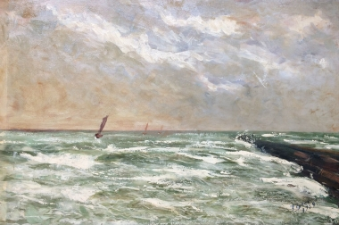 Boats on a Rough Sea - Antique Oil Painting