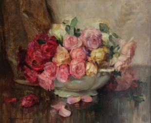 Bowl of Roses - Antique Oil Painting