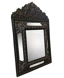 Brass Mirror Repousse - 19th Century