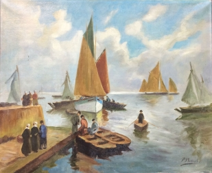 Breton Fishing Port - Oil Painting