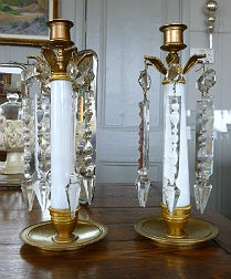 Bronze and Crystal Candlesticks