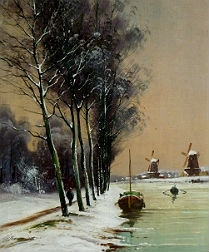 Canal in the Snow - 19th Century Oil Painting