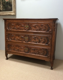 Carved Oak French Commode - 18th Century