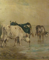 Cattle by a Lake - 19th Century