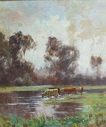 Cattle Drinking - French Landscape