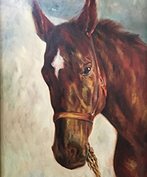Chestnut Horse Portrait - Oil Painting