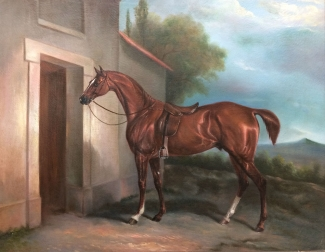 Chestnut Horse with Two White Socks - Antique Oil Painting