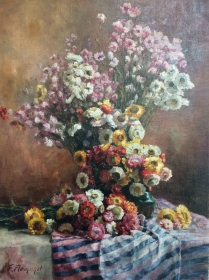 Chrysanthemums - Antique Oil Painting