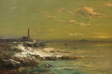 Coastal  view- Antique Oil Painting