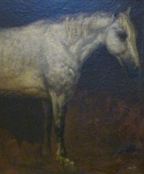 Dapple Grey Horse - Antique Oil Painting - 1862