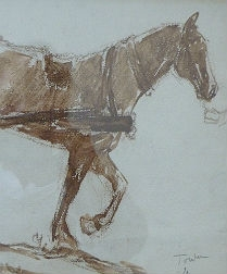 Drawing of a Horse Pulling a Cart