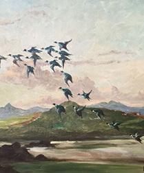 Ducks in Flight - Antique Oil Painting