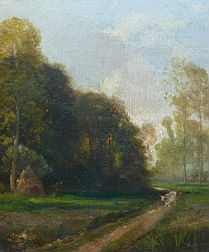 Early French Landscape - Antique Oil Painting