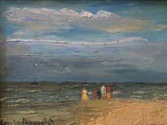 Elegantes sur la Plage - Antique oil Painting
