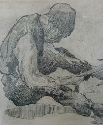 Engraving - Old Man with Scythe