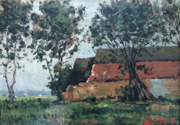 Farmstead in Summer - Antique Oil Painting