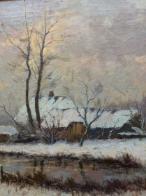 Farmstead in Winter - 19th Century Oil Painting