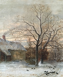 Farmstead In Winter - Antique Oil Painting