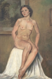 Female Nude Sitting - Antique Oil Painting