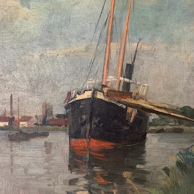 Fishing Boat - Antique Oil Painting