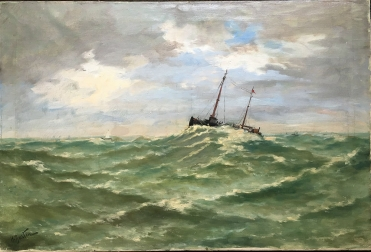 Fishing Boat on a Stormy Sea - Antique Oil Painting