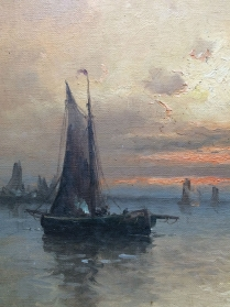 Fishing Boats at Sunset - Antique oil Painting