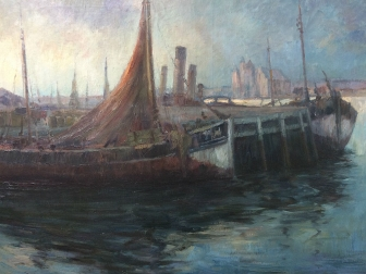 Fishing Boats in a Port - Antique Oil Painting