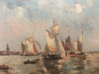 Fishing Boats Leaving the Harbour - Antique French Oil Painting