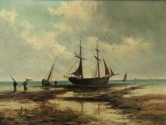 Fishing Boats on a Beach - Antique Oil