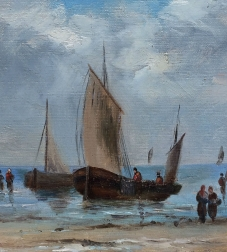 Fishing Boats on the Shore - Oil Painting